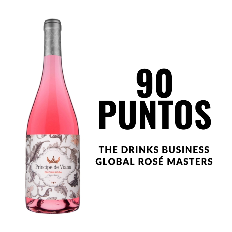 Príncipe de Viana  Edición Rosa 2017  90 puntos  THE DRINKS BUSINESS'  GLOBAL ROSÉ MASTERS