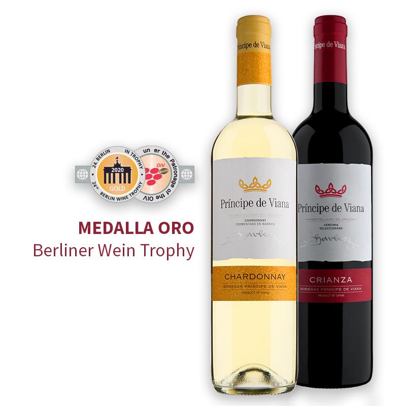 Príncipe de Viana Crianza 2016 y Chardonnay 2019 Medalla de Oro Berliner Wein Trophy
