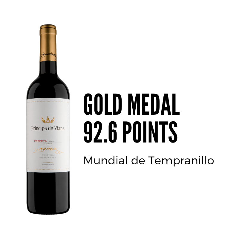 Príncipe de Viana Reserva 2014 92.6 points + GOLD Concurso Mundial de Tempranillo