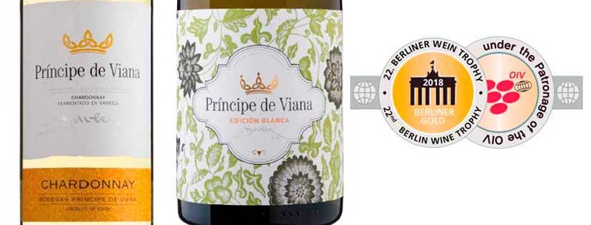 Príncipe de Viana Chardonnay y Príncipe de Viana Edición Blanca Medalla de Oro BERLINER WEIN TROPHY